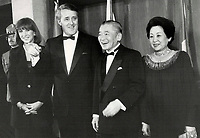 1988 FILE PHOTO - ARCHIVES -<br /> <br /> Prime Minister Brian Mulroney With Noboru Takeshita<br /> <br /> 1988<br /> <br /> PHOTO :  Erin Comb - Toronto Star Archives - AQP