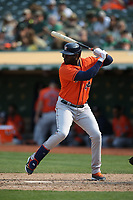 OAKLAND, CA - SEPTEMBER 25:  Yordan Alvarez #44 of the Houston Astros bats against the Oakland Athletics during the game at the Oakland Coliseum on Saturday, September 25, 2021 in Oakland, California. (Photo by Brad Mangin)