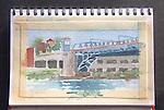 Fremont Bridge, watercolor and pencil, Journal Art 2009,