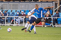 SAN JOSE, CA - MAY 01: Luciano Abecasis #2 of the San Jose Earthquakes wins the ball during a game between San Jose Earthquakes and D.C. United at PayPal Park on May 01, 2021 in San Jose, California.