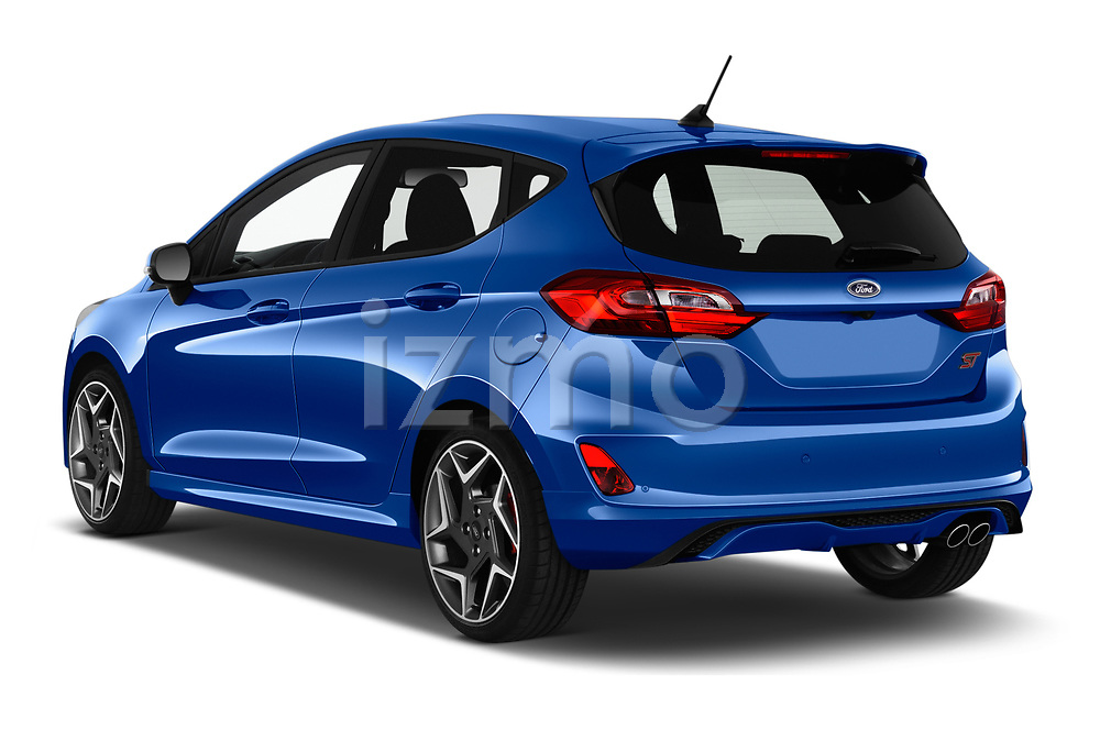 Car pictures of rear three quarter view of a 2018 Ford fiesta st Ultimate 5 Door Hatchback angular rear