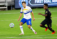 LOS ANGELES, CA - SEPTEMBER 02: Shea Salinas #6 of the San Jose Earthquakes passes off the ball during a game between San Jose Earthquakes and Los Angeles FC at Banc of California stadium on September 02, 2020 in Los Angeles, California.