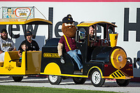 """Sussex County Miners mascot """"Herbie the Miner"""" rides a train around the warning track prior to the game against the New Jersey Jackals at Skylands Stadium on July 29, 2017 in Augusta, New Jersey.  The Miners defeated the Jackals 7-0.  (Brian Westerholt/Four Seam Images)"""