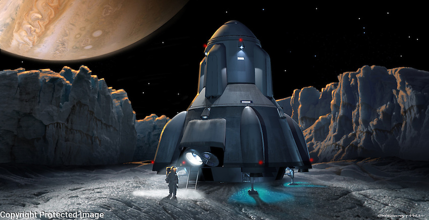 The lander on the frozen surface of Europa; one of the crew has left the ship to explore.