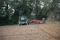 Subsoiling and broadcasting cover crop - Lincolnshire, August
