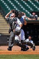 Wake Forest Demon Deacons catcher Ben Breazeale (39) chases after a foul pop fly during the game against the Miami Hurricanes in Game Nine of the 2017 ACC Baseball Championship at Louisville Slugger Field on May 26, 2017 in Louisville, Kentucky.  The Hurricanes defeated the Demon Deacons 5-2 to advance to the semi-finals.  (Brian Westerholt/Four Seam Images)