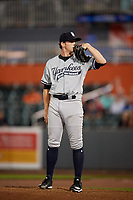 Staten Island Yankees relief pitcher Drew Finley (51) looks in for the sign during a game against the Aberdeen IronBirds on August 23, 2018 at Leidos Field at Ripken Stadium in Aberdeen, Maryland.  Aberdeen defeated Staten Island 6-2.  (Mike Janes/Four Seam Images)