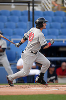 Brevard County Manatees outfielder Clint Coulter (40) at bat during a game against the Dunedin Blue Jays on April 23, 2015 at Florida Auto Exchange Stadium in Dunedin, Florida.  Brevard County defeated Dunedin 10-6.  (Mike Janes/Four Seam Images)