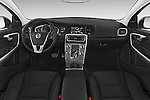 Stock photo of straight dashboard view of a 2015 Volvo V60 Summum 5 Door Wagon