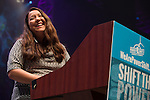 Kandi Mossett from the Indigenous Environment Network speaks at Powershift. Over six thousand young people from all over the country are converging in Pittsburgh, PA for Power Shift 2013, a massive training dedicated to bringing about a safe planet and a just future for all people. (Photo by: Robert van Waarden)