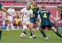 KASHIMA, JAPAN - JULY 27: Julie Ertz #8 of the United States moves with the ball during a game between Australia and USWNT at Ibaraki Kashima Stadium on July 27, 2021 in Kashima, Japan.