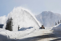 Clearing road with snow blower, Red Mountain Pass, Ouray, Rocky Mountains, Colorado, USA
