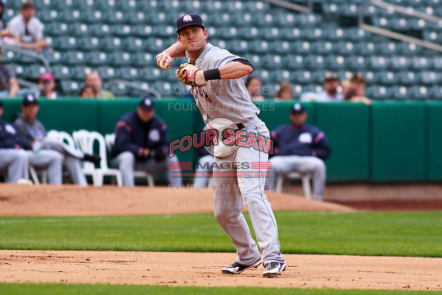 June 17, 2009: Christian Colonel of the Colorado Springs Sky Sox, Pacific Cost League Triple A affiliate of the Colorado Rockies, during a game at the Spring Mobile Ballpark in Salt Lake City, UT.  Photo by:  Matthew Sauk/Four Seam Images