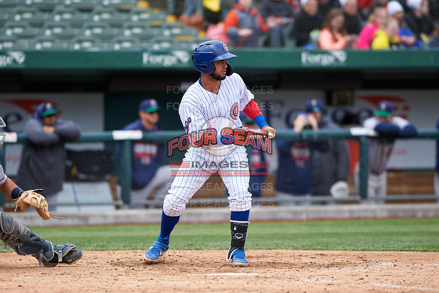 South Bend Cubs Eric Gonzalez (20) shows bunt during a Midwest League game against the Cedar Rapids Kernels at Four Winds Field on May 8, 2019 in South Bend, Indiana. South Bend defeated Cedar Rapids 2-1. (Zachary Lucy/Four Seam Images)
