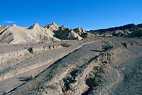 Death Valley National Park, California, CA, USA - View of Alluvial Fan and Eroded Landscape from Zabriskie Point in the Amargosa Range