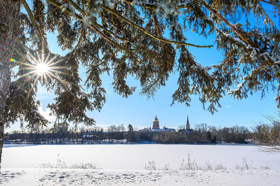 February 16, 2021; St. Joseph Lake in winter, 2021 (Photo by Matt Cashore/University of Notre Dame)