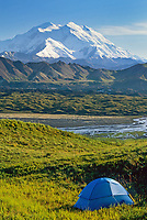 Tent site with a view of Mount Denali's North and South peaks of North America's highest mountain, summer, Thorofare river and Muldrow glacier moraine, Denali National Park, Alaska