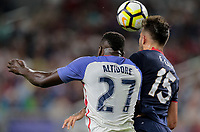 Arlington, TX - Saturday July 22, 2017:  Jozy Altidore and Francisco Calvoduring a 2017 Gold Cup Semifinal match between the men's national teams of the United States (USA) and Costa Rica (CRC) at AT&T stadium.