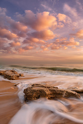 Beautiful soft light and incoming tide at sunrise on a unique stretch of Florida's Atlantic coast.
