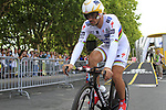 World and Olympic Champion Fabian Cancellara (SUI) Saxo Bank at the start of Stage 19 of the 2010 Tour de France an individual time trial running 52km from Bordeaux to Pauillac, France. 24th July 2010.<br /> (Photo by Eoin Clarke/NEWSFILE).<br /> All photos usage must carry mandatory copyright credit (© NEWSFILE | Eoin Clarke)