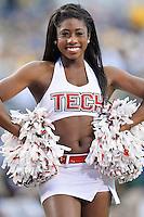 Texas Tech cheerleader performs during NCAA Football game, Saturday, November 29, 2014 in Arlington, Tex. (Mo Khursheed/TFV Media via AP Images)