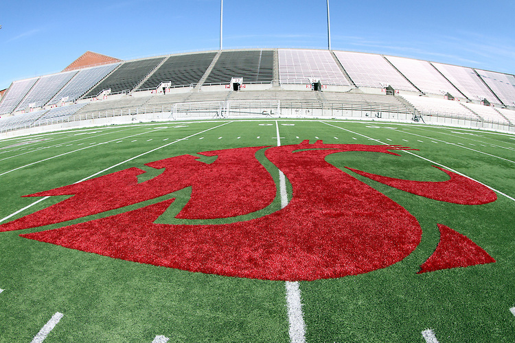 The Cougar logo at midfield at Martin Stadium at Washington State University, just prior to a Spring football scrimmage under new head football coach, Mike Leach.