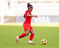 ORLANDO, FL - FEBRUARY 24: Desiree Scott #11 of Canada dribbles during a game between Brazil and Canada at Exploria Stadium on February 24, 2021 in Orlando, Florida.