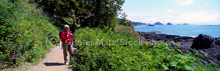 Hiker on Trail along Pacific West Coast of Vancouver Island, near Ucluelet, BC, British Columbia, Canada (Model Released) - Panoramic View