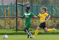 20151024 - ZWEVEZELE , BELGIUM : Hanne Fransen pictured with Manon De Bart (r) during a soccer match between the women teams of SKV Zwevezele Ladies and KSOC Maria Ter Heide  , during the eight matchday in the Third League - Derde Nationale season, Saturday 24 October 2015 . PHOTO DAVID CATRY