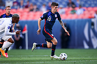 DENVER, CO - JUNE 3: Christian Pulisic #10 of the United States moves towards the box during a game between Honduras and USMNT at EMPOWER FIELD AT MILE HIGH on June 3, 2021 in Denver, Colorado.