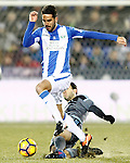 CD Leganes' Pablo Insua (l) and Celta de Vigo's Giuseppe Rossi during La Liga match. January 28,2017. (ALTERPHOTOS/Acero)