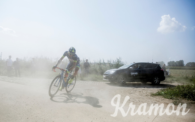 Robin Stenuit (BEL/Wanty-Groupe Gobert) cornering on a dusty gravel/grid zone<br /> <br /> 92th Schaal Sels 2017