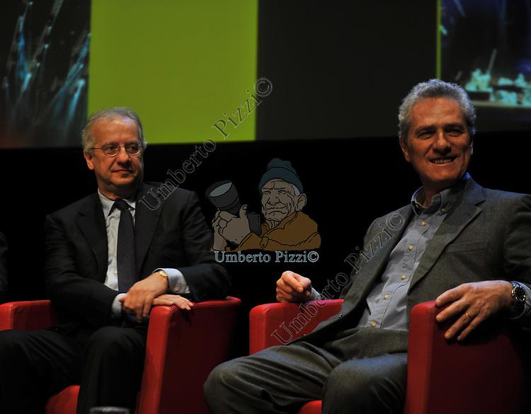 WALTER VELTRONI CON FRANCESCO RUTELLI<br /> MANIFESTAZIONE PER I 10 ANNI DELL'AUDITORIUR PARCO DELLA MUSICA ROMA 2013