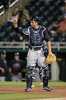 Tampa Yankees catcher Kyle Higashioka (25) signals one out during a game against the Fort Myers Miracle on April 15, 2015 at Hammond Stadium in Fort Myers, Florida.  Tampa defeated Fort Myers 3-1 in eleven innings.  (Mike Janes/Four Seam Images)