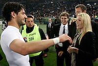 Calcio, Serie A: Roma-Milan. Roma, stadio Olimpico, 7 maggio 2011..Football, Italian serie A: AS Roma vs AC Milan. Rome, Olympic stadium, 7 may 2011..AC Milan's board member Barbara Berlusconi, right, celebrates with forward Alexandre Pato, of Brazil, at the end of the match, for the winning of the 18th championship..UPDATE IMAGES PRESS/Riccardo De Luca