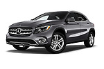 Stock pictures of low aggressive front three quarter view of a 2018 Mercedes Benz GLA GLA250 5 Door SUV