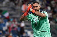 Gianluigi Donnarumma of Italy claps the fans during the Qatar 2022 world cup qualifying football match between Italy and Lithuania at Citta del tricolore stadium in Reggio Emilia (Italy), September 8th, 2021. Photo Andrea Staccioli / Insidefoto