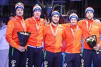 SHORTTRACK: DORDRECHT: Sportboulevard Dordrecht, 25-01-2015, ISU EK Shorttrack, Podium Relay Men, 3e plaats, Freek VAN DER WART, Adwin SNELLINK, Sjinkie KNEGT, Itzhak DE LAAT, Daan BREEUWSMA (Team Netherlands), ©foto Martin de Jong