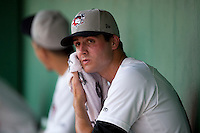 Tri-City ValleyCats starting pitcher Mark Appel #28 looks to the scoreboard after his first inning of his first professional start against the Lowell Spinners on July 5, 2013 at Joseph L. Bruno Stadium in Troy, New York.  Appel was the first overall selection of the 2013 Major League Baseball Draft by the Houston Astros out of Stanford University.  (Mike Janes/Four Seam Images)