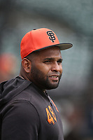SAN FRANCISCO, CA - APRIL 6:  Pablo Sandoval #48 of the San Francisco Giants takes batting practice before the game against the Tampa Bay Rays at Oracle Park on Saturday, April 6, 2019 in San Francisco, California. (Photo by Brad Mangin)