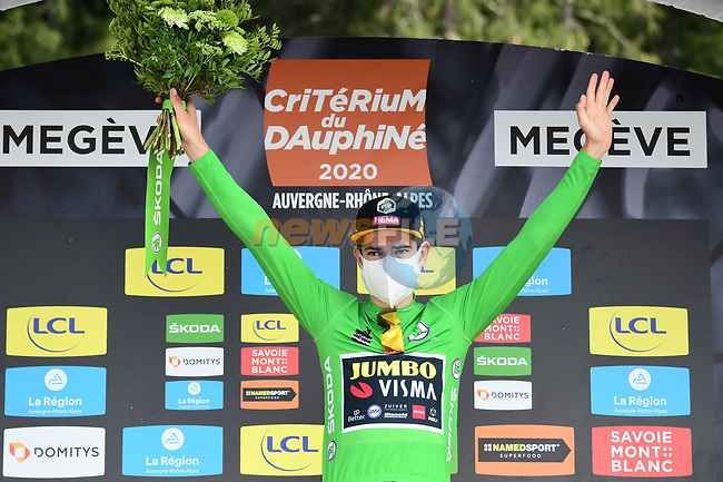 Wout Van Aert (BEL) Team Jumbo-Visma wins the points Green Jersey at the end of Stage 5 of Criterium du Dauphine 2020, running 153.5km from Megeve to Megeve, France. 16th August 2020.<br /> Picture: ASO/Alex Broadway   Cyclefile<br /> All photos usage must carry mandatory copyright credit (© Cyclefile   ASO/Alex Broadway)