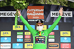 Wout Van Aert (BEL) Team Jumbo-Visma wins the points Green Jersey at the end of Stage 5 of Criterium du Dauphine 2020, running 153.5km from Megeve to Megeve, France. 16th August 2020.<br /> Picture: ASO/Alex Broadway | Cyclefile<br /> All photos usage must carry mandatory copyright credit (© Cyclefile | ASO/Alex Broadway)