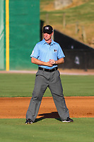 Third base umpire Tyler Jones during a Southern League game between the Jackson Generals and the Biloxi Shuckers on July 27, 2018 at The Ballpark at Jackson in Jackson, Tennessee. Biloxi defeated Jackson 15-7. (Brad Krause/Four Seam Images)