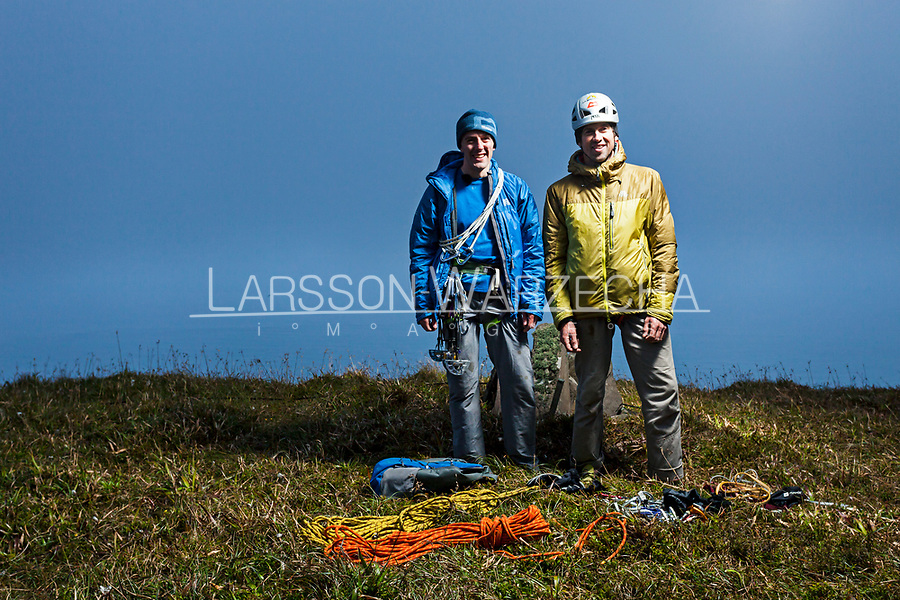 Dave Macleod and Andy Turner on the top of St John's Head after the first free ascent of the 'Longhope Route Direct'.