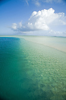 Crystal clear blue water at the Kaneohe Sandbar on the windward side of Oahu