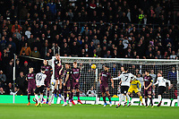 Tom Lawrence of Derby County takes a free kick during the Sky Bet Championship match between Derby City and Swansea City at the Pride Park Stadium in Derby, England, UK. Saturday 01 December 2018