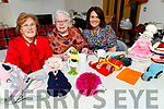 Bridget O'Connell, Ella Hennessey and Doreen O'Connell enjoying a cuppa and a chat as they display their knitted dolls and clocks at Ella's house in the Spa on Tuesday morning.