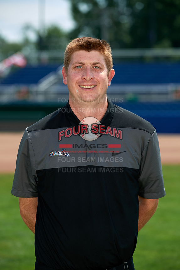 Batavia Muckdogs athletic trainer Jordan Wheat poses for a photo on July 2, 2018 at Dwyer Stadium in Batavia, New York.  (Mike Janes/Four Seam Images)