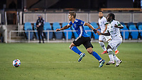 SAN JOSE, CA - MAY 15: Luciano Abecasis #2 of the San Jose Earthquakes during a game between San Jose Earthquakes and Portland Timbers at PayPal Park on May 15, 2021 in San Jose, California.