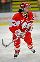 9 February 2008: Boston University Terriers' forward and defenseman Melissa Tetreau, a Sophomore from Methuen, MA, in action against the University of Vermont Catamounts at Gutterson Fieldhouse in Burlington, Vermont. The Terriers shut out the Catamounts 2-0 in the Hockey East matchup...Mandatory Photo Credit: Ed Wolfstein Photo